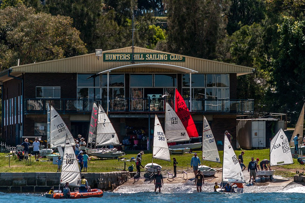 Hunters Hill Sailing Club on Parramatta River. Photo by Hpeterswald.