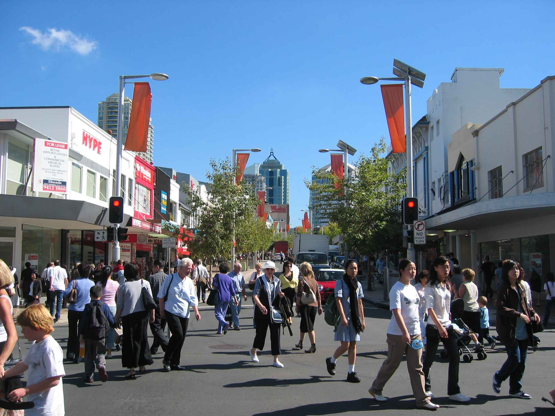 Victoria Ave and Archer St., view towards Chatswood Station. Photo from John Rotenstein,