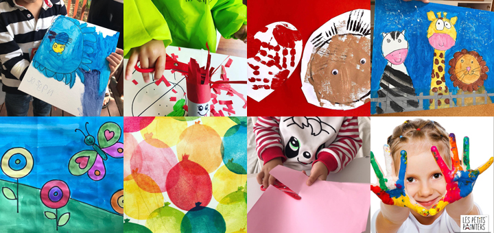 A collage of kiddie art work from our arts and crafts sessions in Chatswood, Hunters Hill, and Top Ryde | LesPetitsPainters.com.au