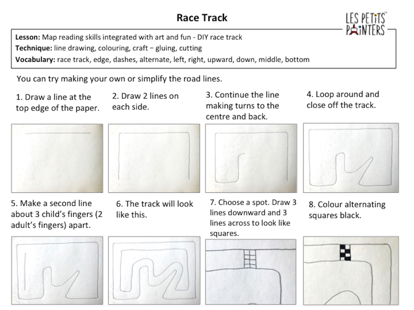 Les Petits Painters art and craft games kids can play while learning, race track map for kids, kids activities, do at home activities for children