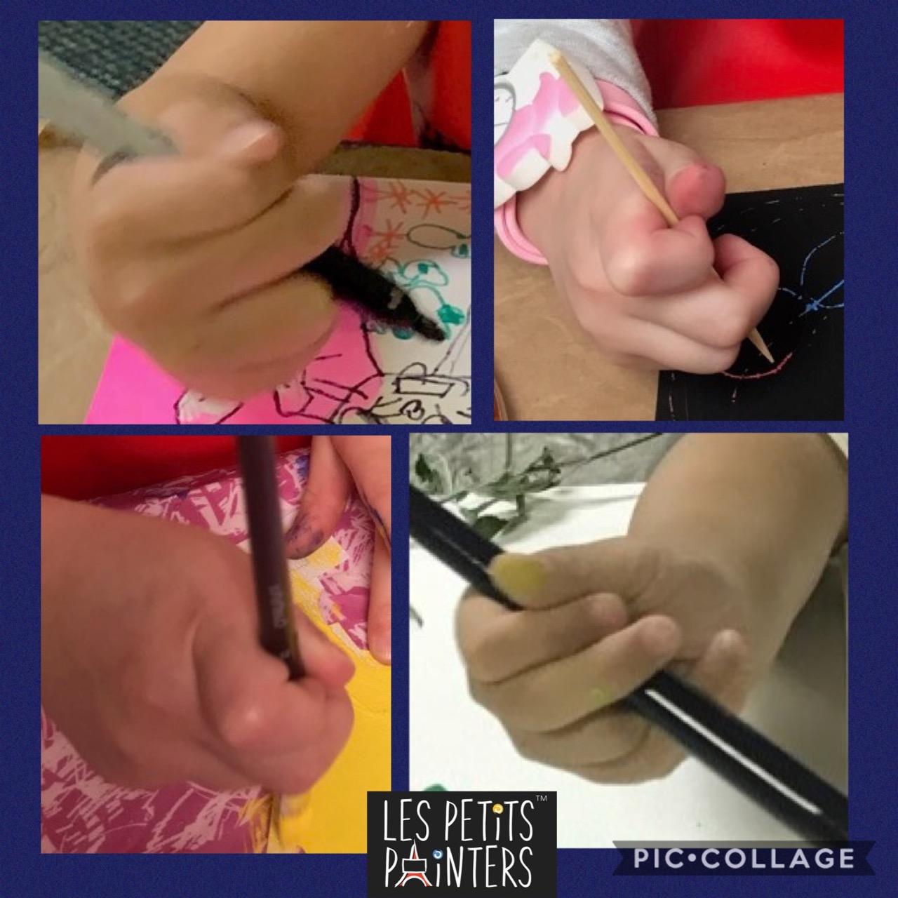 Les Petits Painters art and craft lessons, preschool child development exercises, kid's pencil grip, fine motor skill exercises, how art and craft benefits children