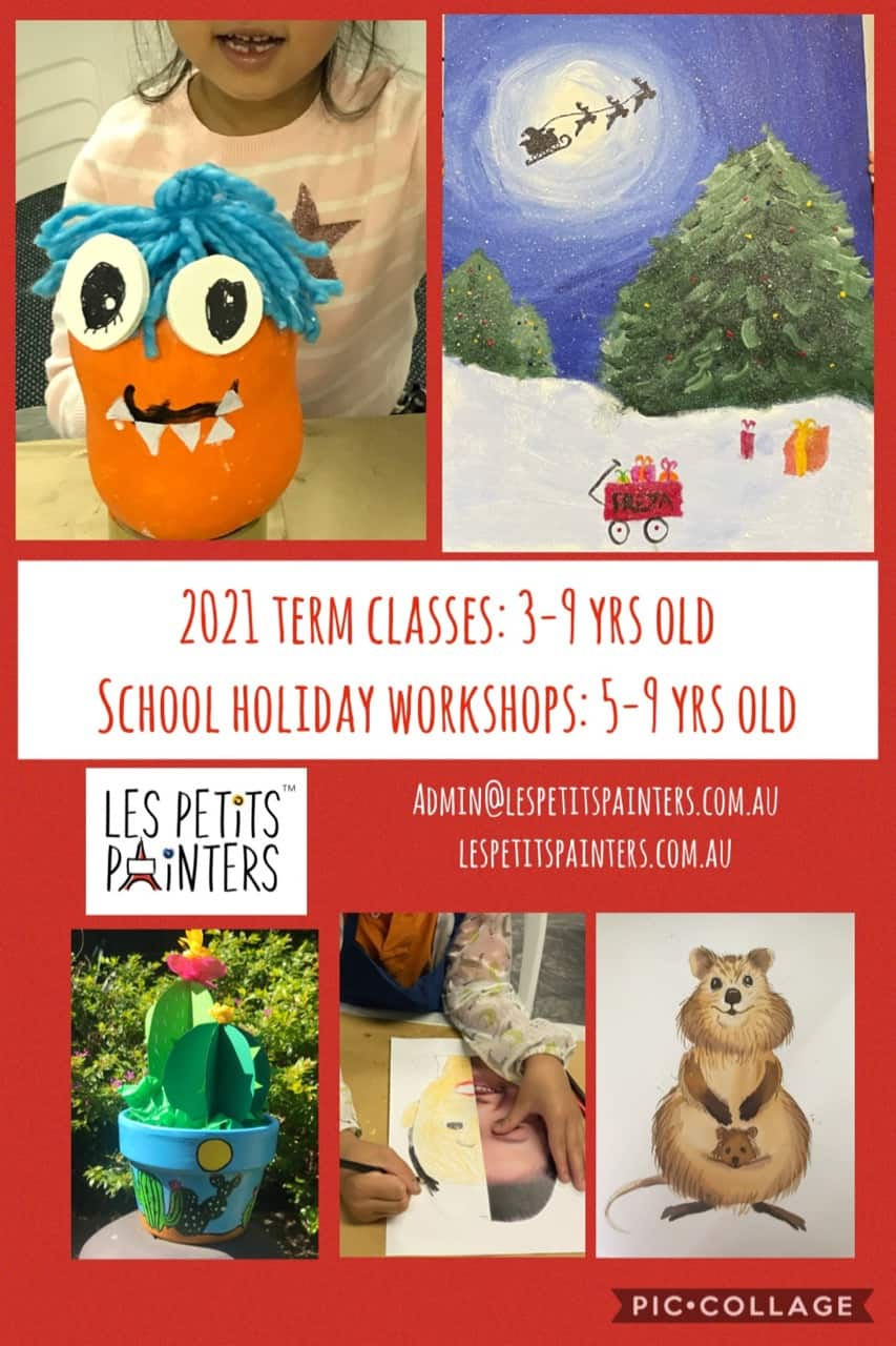 Art classes and school holiday activities for children by Les Petits Painters