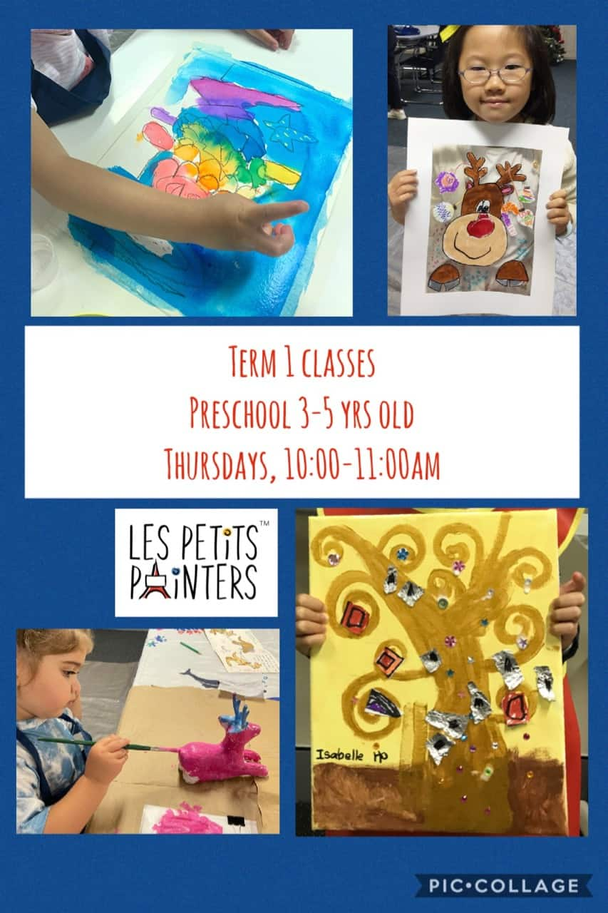 Preschool art classes for kids at Les Petits Painters, arts and crafts activities for young children